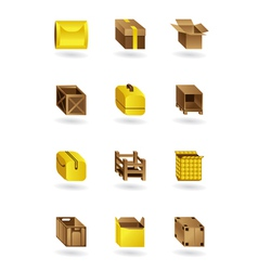 Package icons set vector