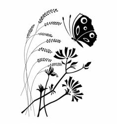 Flowers and the butterfly vector