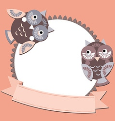 Little sweet owl message banners place for your vector
