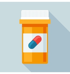 Pill bottle with various pills and capsules vector