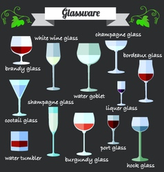 Wine glassware flat design set vector