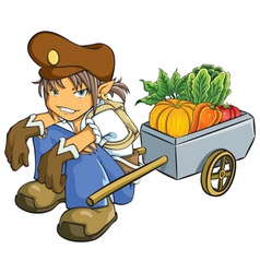 Merchant selling vegetables vector