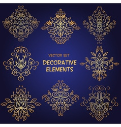 Golden decorative floral elements vector