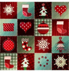 Cozy christmas pattern in patchwork vector