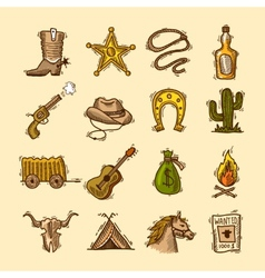 Wild west set vector
