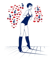 Beauty sexy valentine girl in cool cartoon style vector