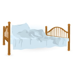 Unmade bed isolated vector