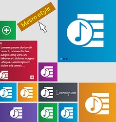 Audio mp3 fileicon sign metro style buttons modern vector