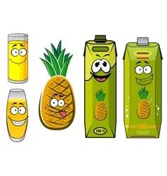 Cartoon pineapple fruit juice packs and glasses vector