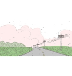 Country road landscape vector