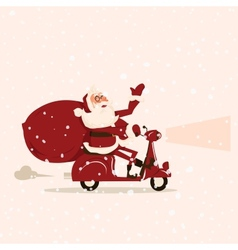 Santa goes with gifts on a moped vector