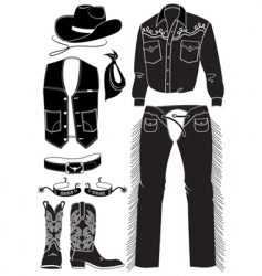 Cowboy clothes and elements vector