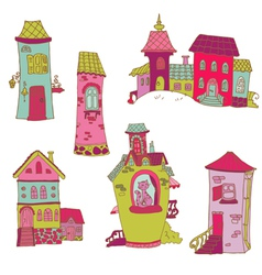 Scrapbook design elements - little houses doodles vector
