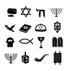 Judaism icons set black vector