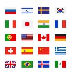 Flags flat icons vector