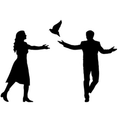 Concept of love or peace silhouettes girl and guy vector