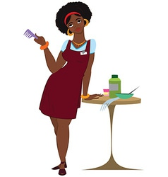 Cartoon black woman hairdresser standing in red vector