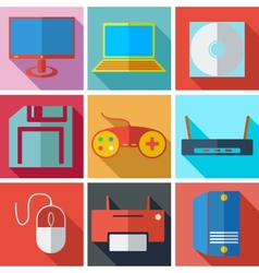 Collection modern flat icons media technology with vector