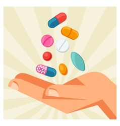 Hand holding various pills and vector