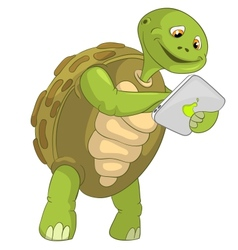 Funny turtle touch screen vector