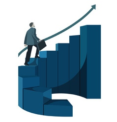 Male businessman with briefcase climbing stairs vector