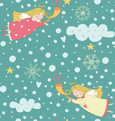 Seamless pattern with christmas angels vector