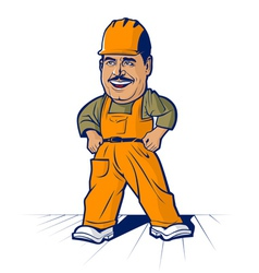 Cartoon builder worker mans smile vector