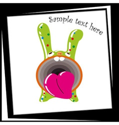 Funny green bunny with a big mouth vector