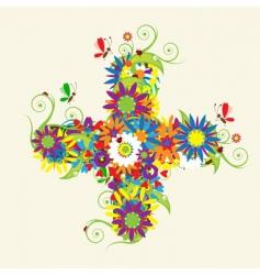 Plus sign floral design vector