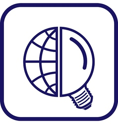 Globe and lamp icon vector