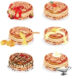 Pancakes with different fillings vector