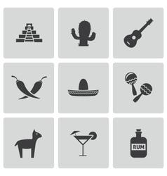 Black mexico icons set vector