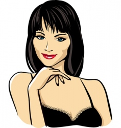 Woman's face with red lips vector