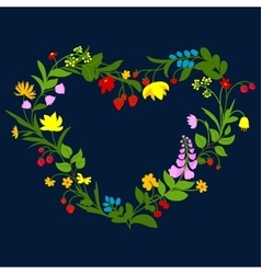 Floral heart frame with flowers and berries vector