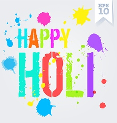 Happy holi splash colors postcard vector