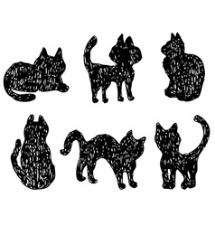 Cats collection silhouette black cats vector