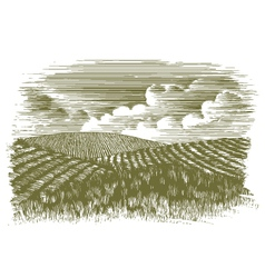 Woodcut farm fields vector