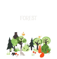 Background with animals and trees vector