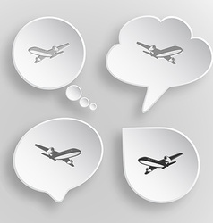 Airliner white flat buttons on gray background vector