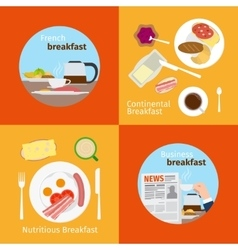 Continental and french breakfast concepts vector