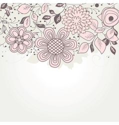 Vintage floral card with handdrawn flowers vector