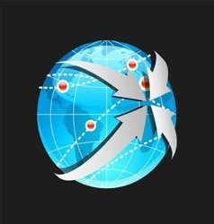 Globe and arrows on white background vector