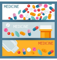 Medical banners design with pills and capsules vector