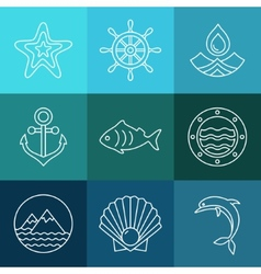 Water sea line icons and logos vector