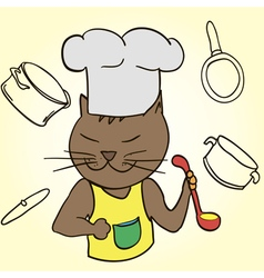 Cat chef with ladle in his paws and cap vector
