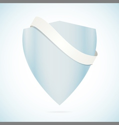 Shield and banner on blue vector