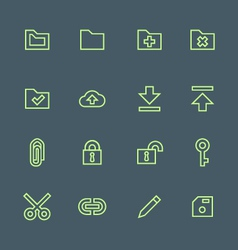 Green outline various file actions icons set vector