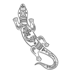 Lizard with decorative patterns vector