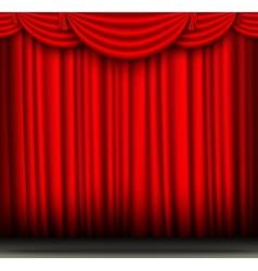 Red silk curtain with pelmet vector
