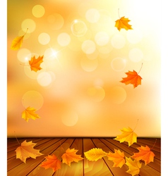 Background with wooden floor and autumn leaves vector